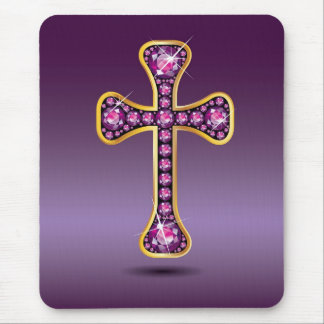 "Christian Cross with ""Garnet"" Stones Mouse Pad"