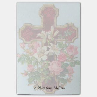 Christian Cross with lilies and roses Personalize Post-it Notes