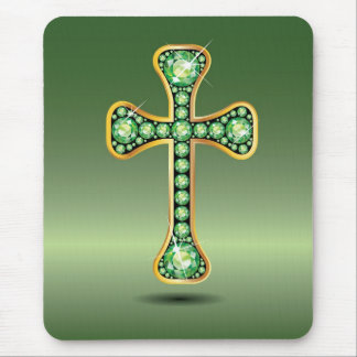 "Christian Cross with ""Peridot"" Stones Mouse Pad"