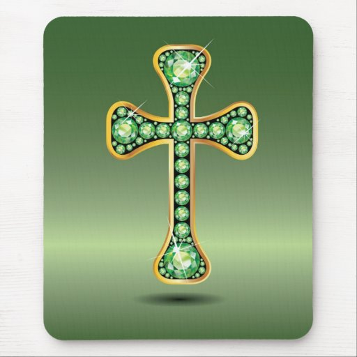 """Christian Cross with """"Peridot"""" Stones Mouse Pad"""
