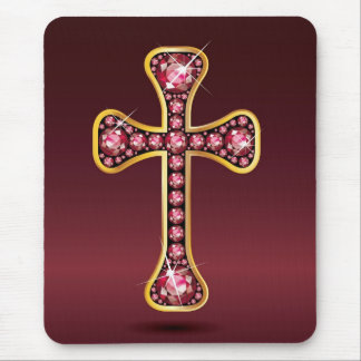"Christian Cross with ""ruby"" Stones Mouse Pad"