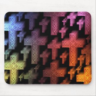 Christian crosses vibrant colors mouse pad