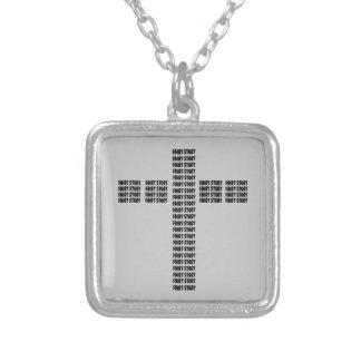 Christian fairy tale square pendant necklace