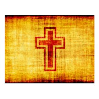 Christian Faith Cross on Parchment Paper Postcard