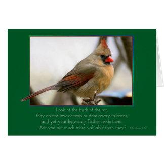 Christian female cardinal encouragement card