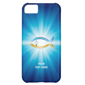 Christian Fish Cross blue background | Unique Gift iPhone 5C Case