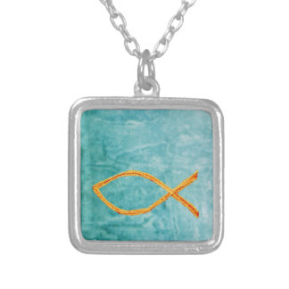 Christian Fish- Gold on blue/green Silver Plated Necklace