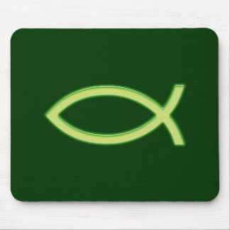 Christian Fish Light Green Mouse Pad