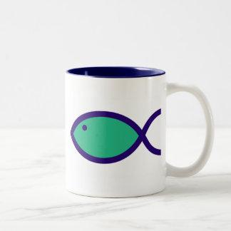 Christian Fish Symbol - LOUD! - Aqua and Blue Coffee Mug