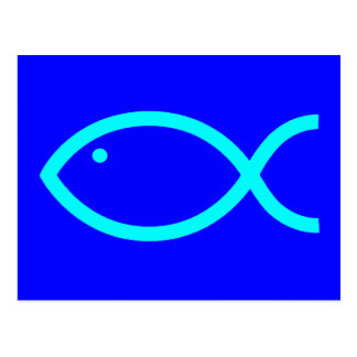 Christian Fish Symbol - LOUD! Blue and Aqua Postcard