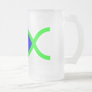 Christian Fish Symbol - LOUD! Blue and Green Frosted Glass Beer Mug