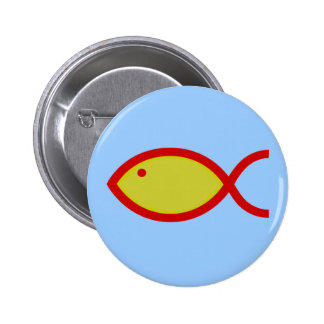 Christian Fish Symbol - LOUD Gold and Red Pinback Button