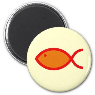 Christian Fish Symbol - LOUD! Orange and Red 6 Cm Round Magnet