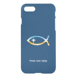 Christian Fish Symbol on blue background iPhone 7 Case
