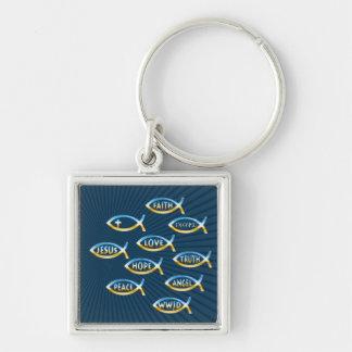 Christian Fish Symbol Silver-Colored Square Key Ring