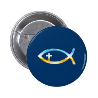 Christian Fish Symbol with Crucifix - Sky Ground Buttons