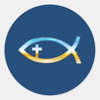 Christian Fish Symbol with Crucifix - Sky & Ground Classic Round Sticker