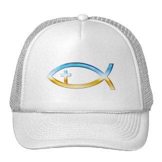 Christian Fish Symbol with Crucifix - Sky & Ground Trucker Hats