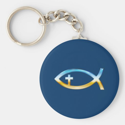 Christian Fish Symbol with Crucifix - Sky & Ground Keychains