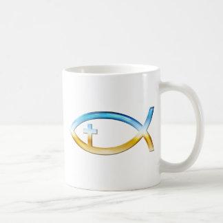 Christian Fish Symbol with Crucifix - Sky & Ground Mugs