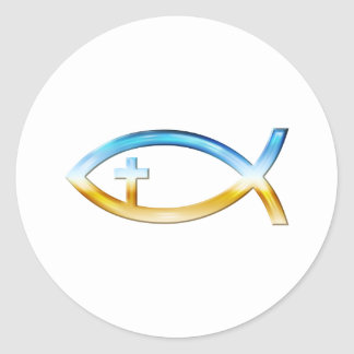 Christian Fish Symbol with Crucifix - Sky & Ground Round Sticker