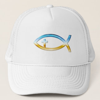 Christian Fish Symbol with Crucifix - Sky & Ground Trucker Hat