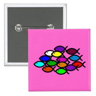 Christian Fish Symbols - Rainbow School - 15 Cm Square Badge