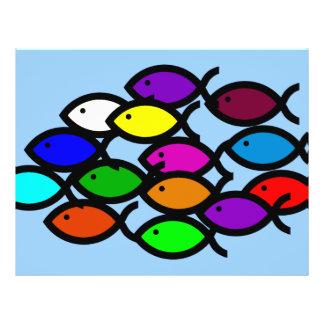 Christian Fish Symbols - Rainbow School - 21.5 Cm X 28 Cm Flyer