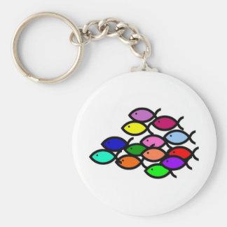 Christian Fish Symbols - Rainbow School - Basic Round Button Key Ring