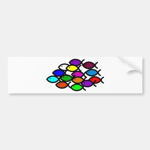 gay christian rainbow fish car symbol