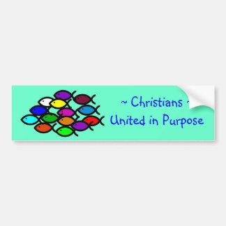 Christian Fish Symbols - Rainbow School - Bumper Sticker