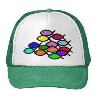 Christian Fish Symbols - Rainbow School - Cap