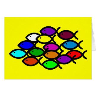 Christian Fish Symbols - Rainbow School - Card