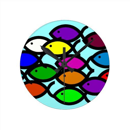 Christian Fish Symbols - Rainbow School - Clocks