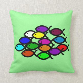 Christian Fish Symbols - Rainbow School - Pillows