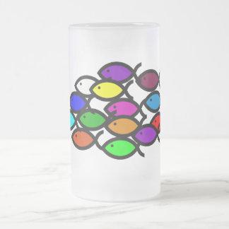 Christian Fish Symbols - Rainbow School - Frosted Glass Mug