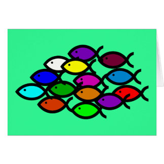 Christian Fish Symbols - Rainbow School - Greeting Card