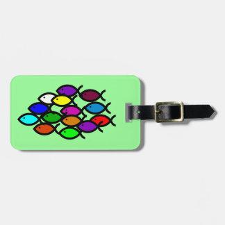 Christian Fish Symbols - Rainbow School - Luggage Tag