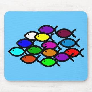 Christian Fish Symbols - Rainbow School - Mousepads