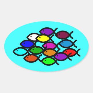 Christian Fish Symbols - Rainbow School - Oval Sticker
