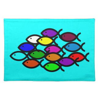 Christian Fish Symbols - Rainbow School - Place Mat