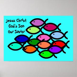 Christian Fish Symbols - Rainbow School - Poster
