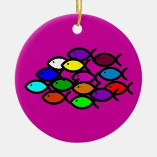 Christian Fish Symbols - Rainbow School - Round Ceramic Decoration