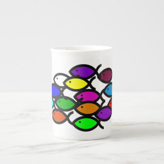Christian Fish Symbols - Rainbow School - Porcelain Mug
