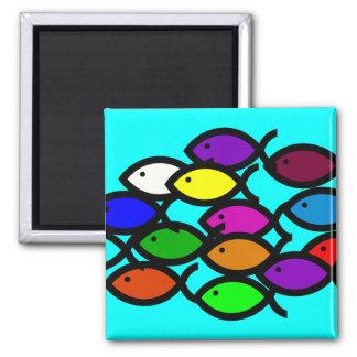 Christian Fish Symbols - Rainbow School - Square Magnet