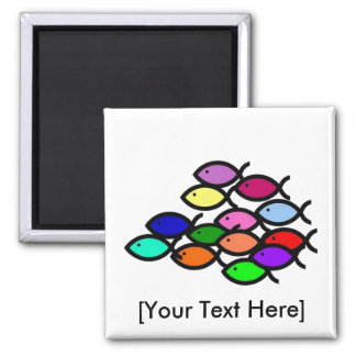 Christian Fish Symbols - Rainbow School - Square Magnet