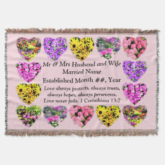 CHRISTIAN FLORAL PERSONALIZED WEDDING BLANKET