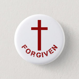 Christian Forgiven Red Cross and Text Design 3 Cm Round Badge