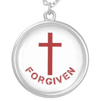 Christian Forgiven Red Cross and Text Design Round Pendant Necklace