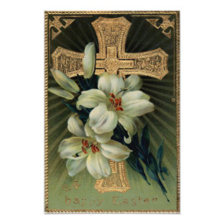 Christian Gold Cross Easter Lily Photographic Print